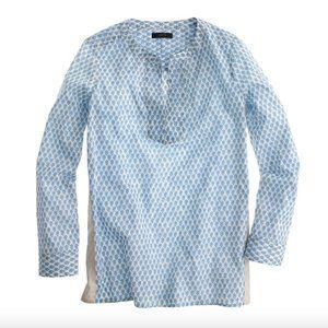 J.Crew Blue floral pop over shirt gold